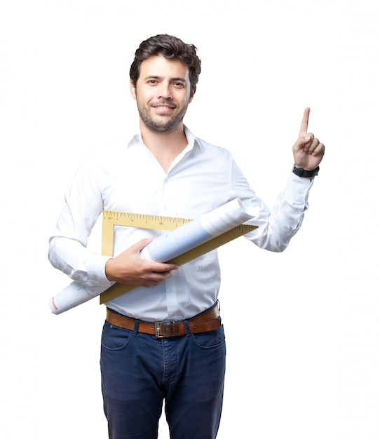 Young architect working over white background Premium Photo