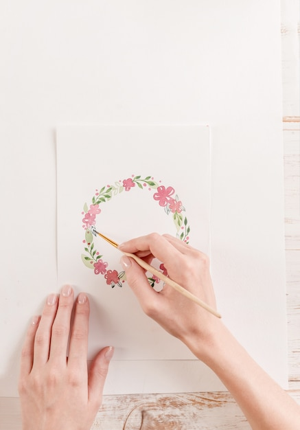 Watercolor Flowers And Paint Brushes: Young Artist Drawing Flowers Pattern With Watercolor Paint