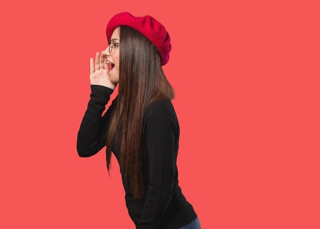 Young artist woman whispering gossip undertone Premium Photo