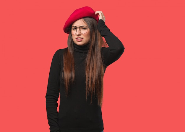 Young artist woman worried and overwhelmed Premium Photo