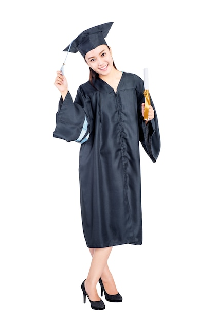 Young asian student woman with graduation gown standing Premium Photo