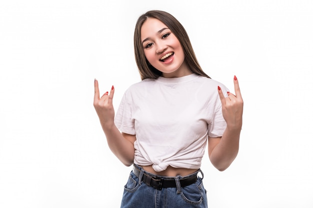 Young asian woman doing rock symbol with hands Free Photo