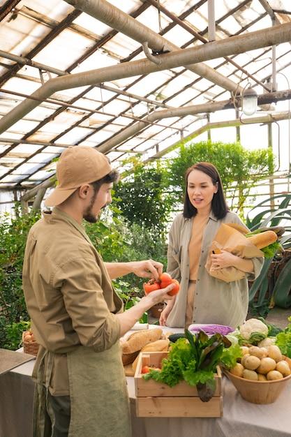 Молодая азиатская женщина с бумажным пакетом спрашивает фермеру помидоры, покупая их на фермерском рынке Premium Фотографии