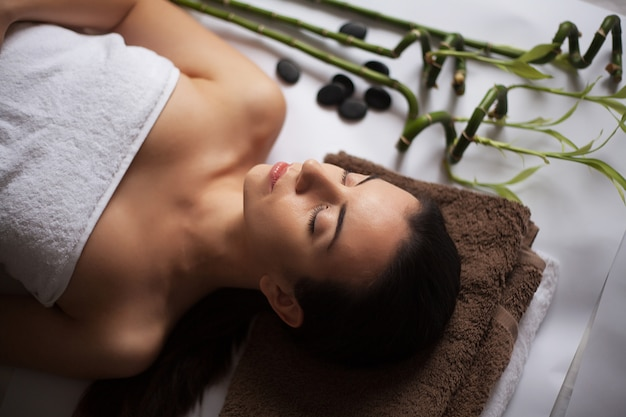 Young attractive woman getting spa treatment Premium Photo