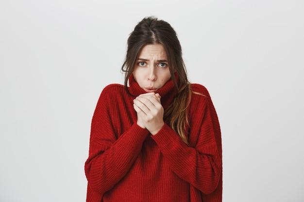 セーターの若い魅力的な女性は冷たい感じ、ウォームアップする手に空気を吹く 無料写真