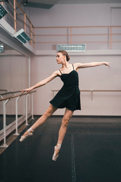 Young ballerina practising in the dance studio Free Photo
