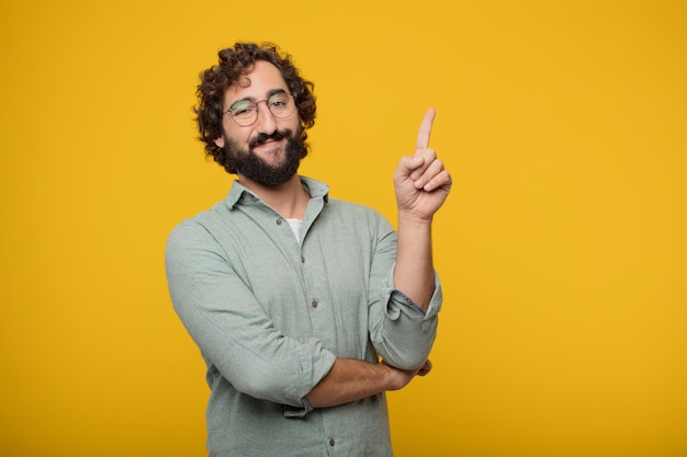 Young bearded businessman expressing a concept Premium Photo