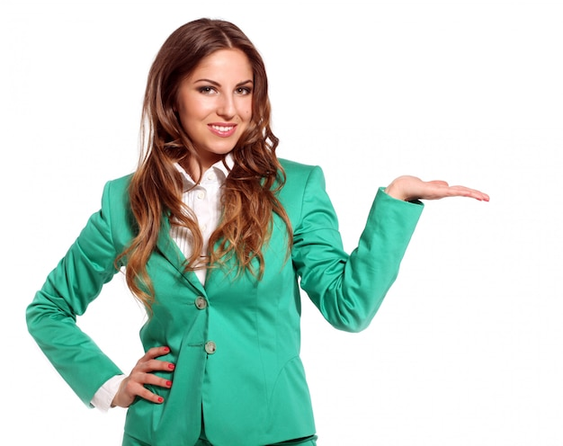 Young beautiful woman in bright suit Free Photo