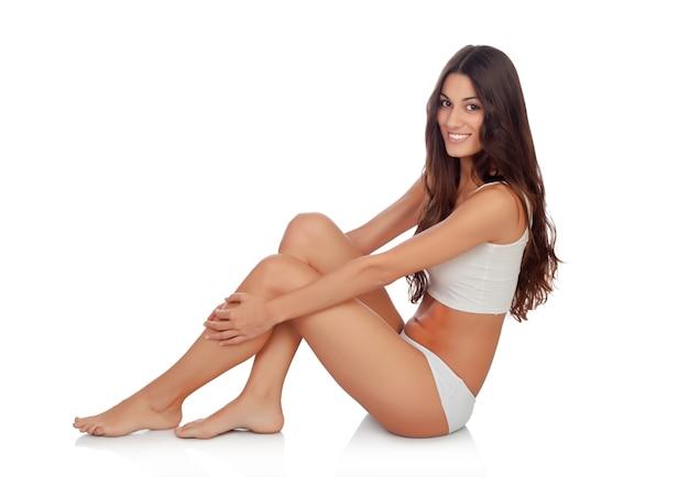 Young beautiful woman in cotton underwear Premium Photo
