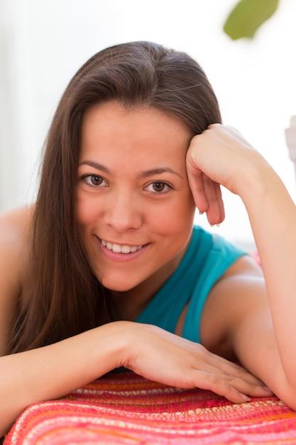 Young beautiful woman at home Free Photo