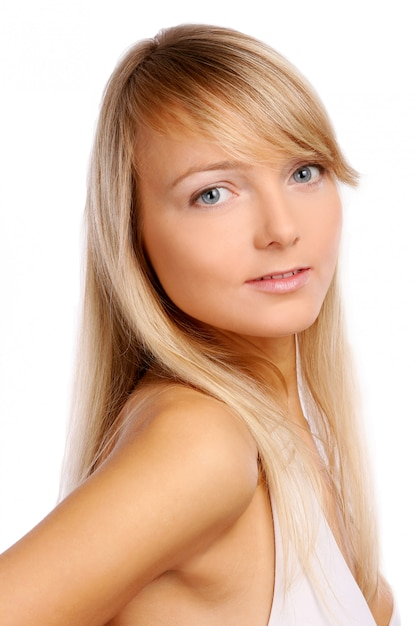 Young and beautiful woman on white Free Photo