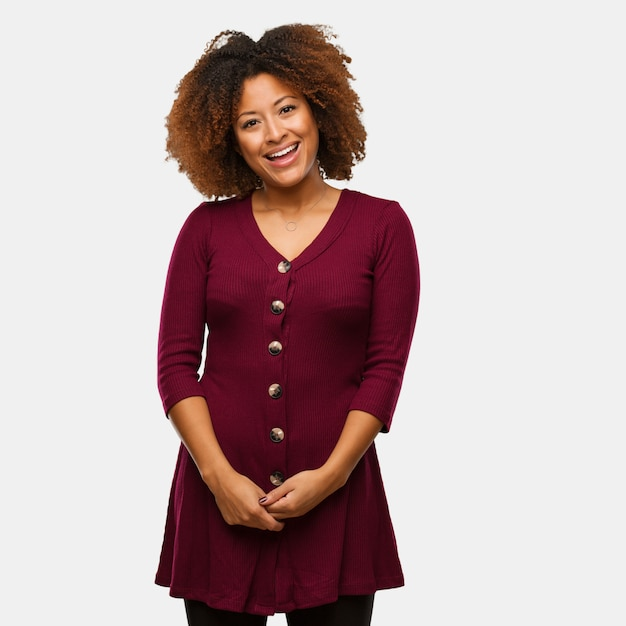 Young black afro woman cheerful with a big smile Premium Photo