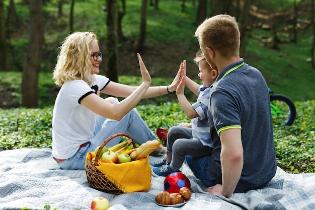 Young blonde mother plays with her son during a picnic in the park Free Photo