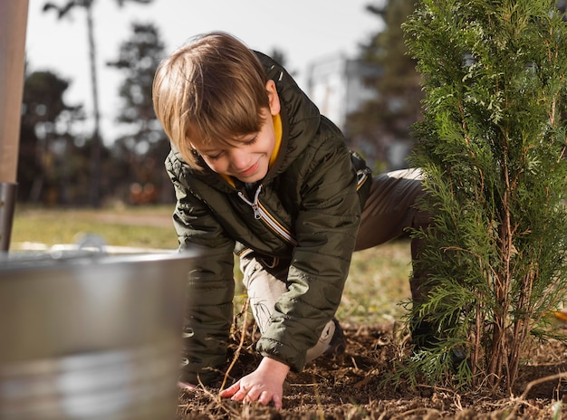 Young boy planting a tree outside Free Photo