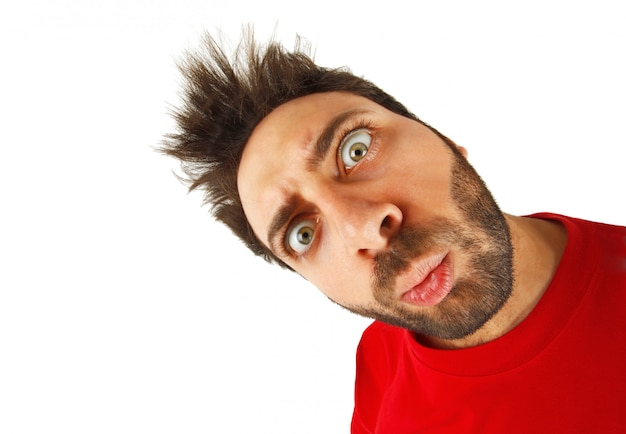 Young boy with a surprised expression Premium Photo