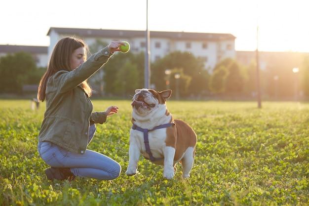 Young brunette play with her british bulldog Premium Photo