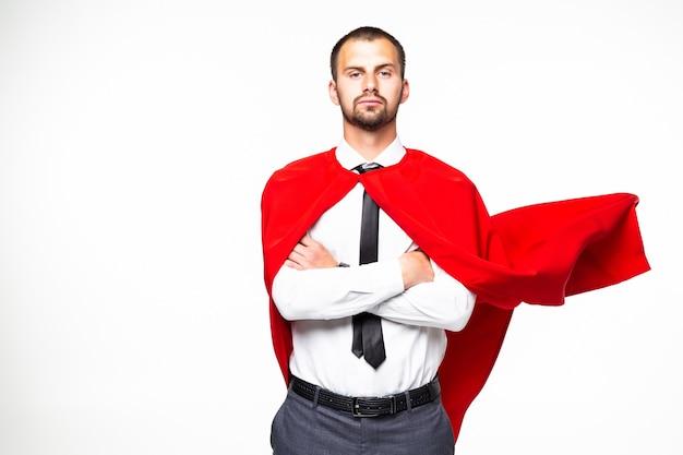白い背景で隔離の若いビジネスマンスーパーマン Premium写真