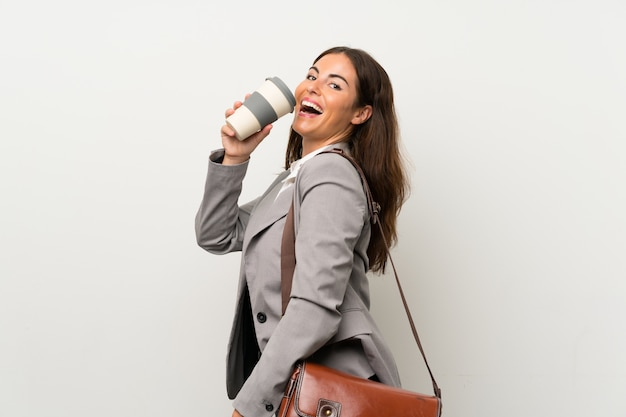Young business woman over isolated white wall Premium Photo