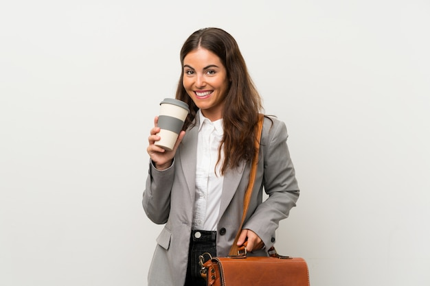 Young business woman white Premium Photo