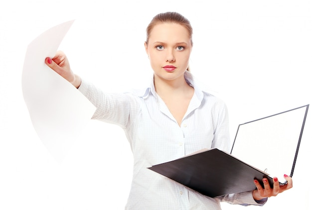 Young business woman with folders Free Photo