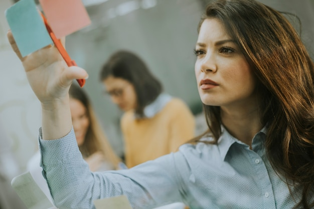 Young business women discussing in front of glass wall using post it notes and stickers Premium Photo
