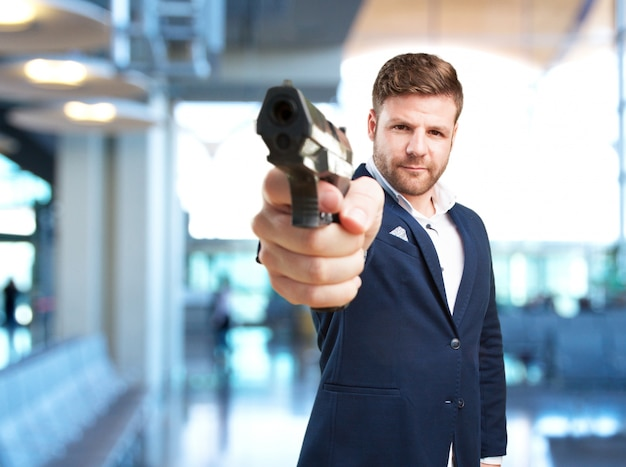 Young businessman angry expression Free Photo