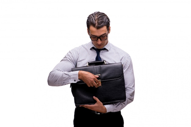 Young businessman in business concept isolated on white Premium Photo