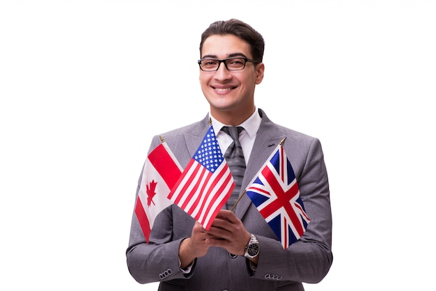 Young businessman with flag isolated on white Premium Photo