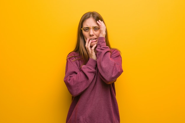 Young casual woman desperate and sad Premium Photo
