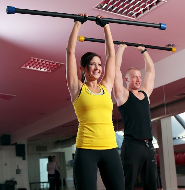 Young caucasian couple working out Free Photo
