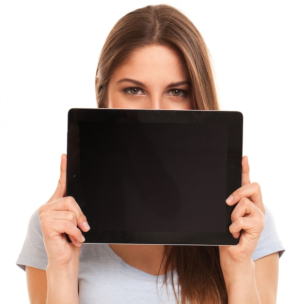 Young caucasian woman with tablet pc Free Photo