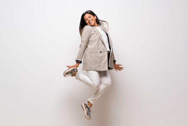 Young colombian girl jumping Premium Photo
