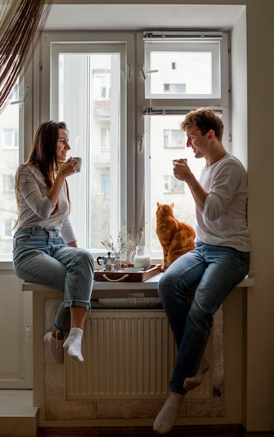 Young couple having breakfast Free Photo