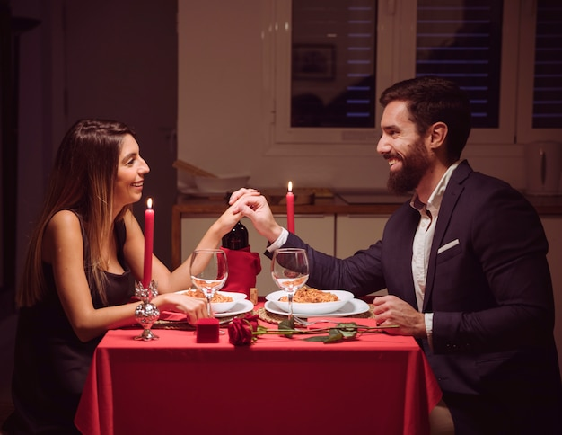 Young couple having romantic dinner Free Photo