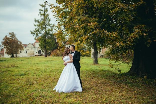 고대 성, 결혼식 사진 촬영에 포옹 사랑에 젊은 부부 프리미엄 사진