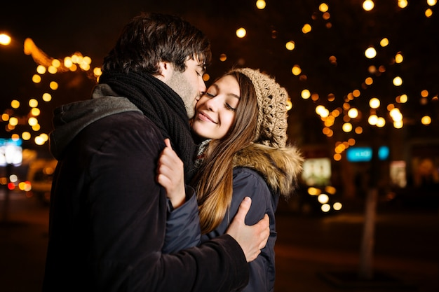 Young couple in love outdoor Free Photo