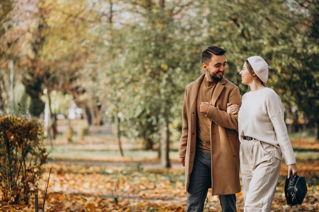 Young couple together in an autumn park Free Photo