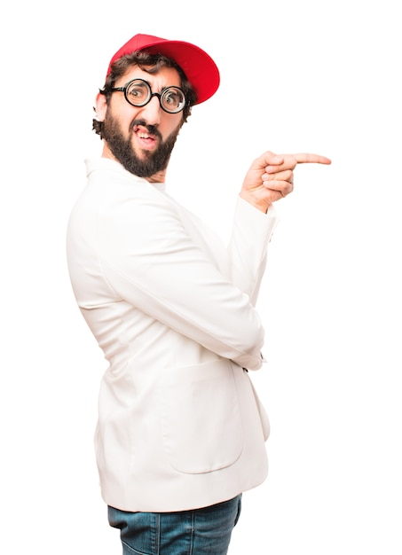 Young crazy businessman pointing Free Photo