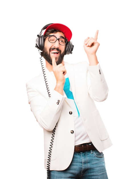 young crazy businessman with headphones Free Photo