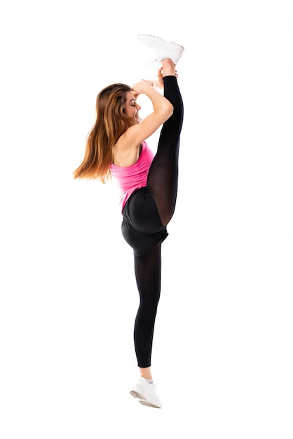 Young dance girl over isolated white background Premium Photo