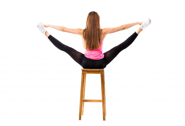 Young dance girl stretching isolated Premium Photo