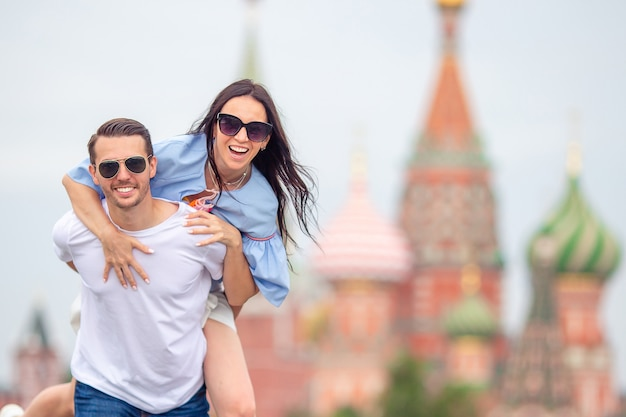 Young dating couple in love walking in city Premium Photo