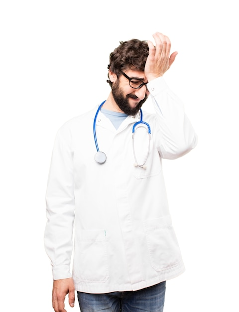 Young doctor man sad expression Free Photo