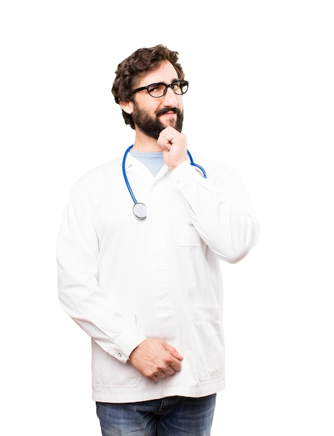 Young doctor man thinking Free Photo
