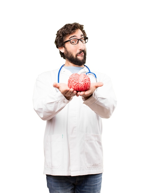 young doctor man with a brain Free Photo