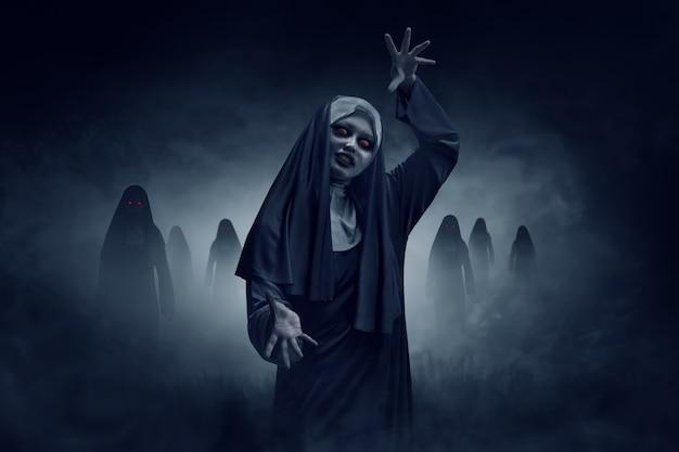 Young evil asian woman nun Premium Photo