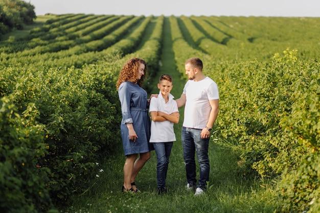 庭を歩きながら見ている若い家族 無料写真