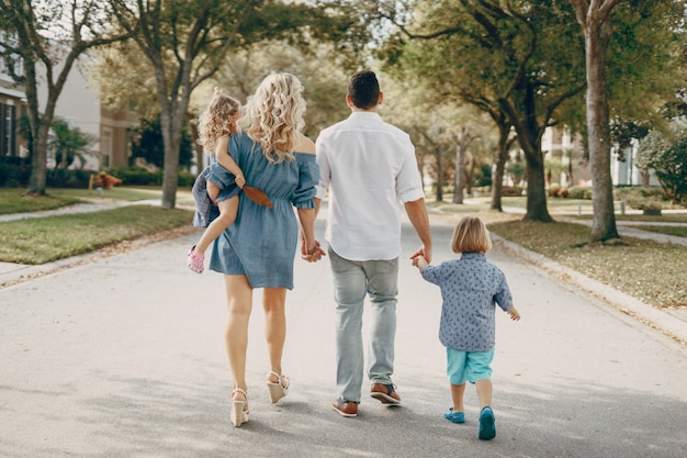 Young family on the street Free Photo