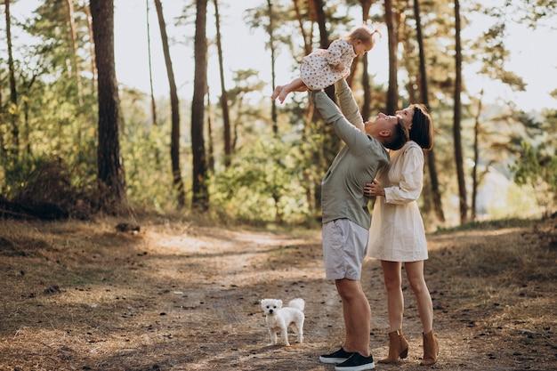 Молодая семья с милой маленькой дочерью гуляет в лесу на закате Бесплатные Фотографии
