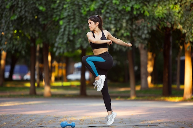 Woman working out in fresh air